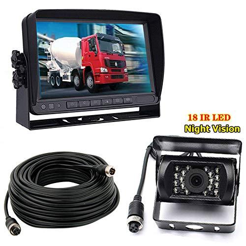4Pin 17,8cm (7 Zoll) TFT LCD HD 800 x 480 Farbmonitor mit Sonnenschutz-Halterung, wasserdicht 18LED Nachtsicht Rückfahrkamera mit 10m kabel für Wohnmobil/Bus/Anhänger/LKW