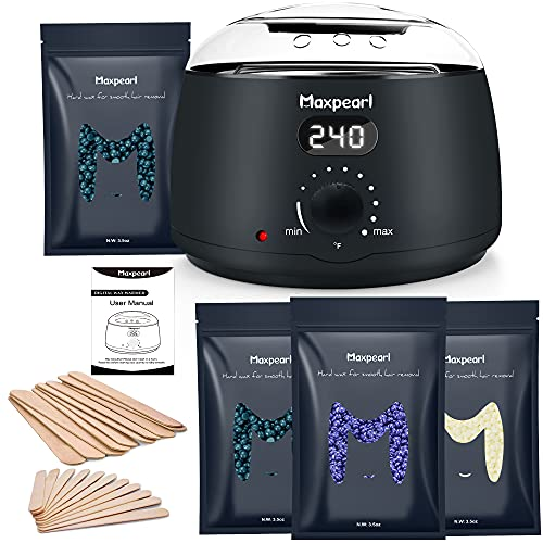 Maxpearl Waxing Kit with Hard Wax Beads, Hair Removal Wax Warmer Kit for Fine and Coarse Hair,...