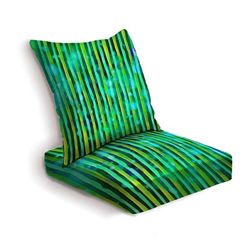 2-Piece Outdoor Deep Seat Cushion Set Watercolor hand painted brush strokes green orange and yellow striped Back Seat Lounge Chair Conversation Cushion for Patio Furniture Replacement Seating Cushion