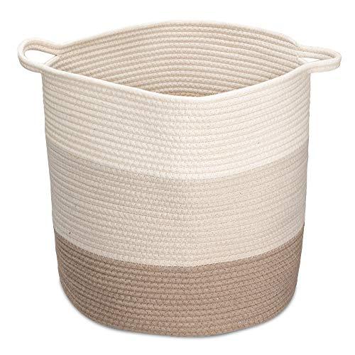 Navaris Cesta de Almacenamiento de Cuerda de algodón - Cesto Grande con asa para Colada organización decoración Juguetes Mantas - Blanco y marrón