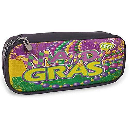 Leder Bleistift Tasche Mardi Gras Grunge Hintergrund mit Farben lebendige Perlen Vintage Buchstaben freudig lila grün gelb