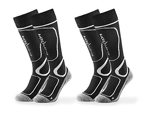 Black Crevice Lot de 2 paires de chaussettes de ski pour adulte Noir/blanc Taille 31-34