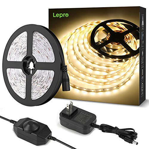 Lepro Tape Light, LED Tape, 32.8 ft (10 m), Bulb Color, Stepless Dimming, Torchiere Lighting, High Color Rendering Type, Strip Light, Double-Sided Tape, Cutable, Tool-Free Installation, 2 Pins, 2835 SMD 600 LED High Brightness, Low Power Consumption, Office, Bedroom, Home, Indoor, Shelf, Sign Lighting, LED Tape Light
