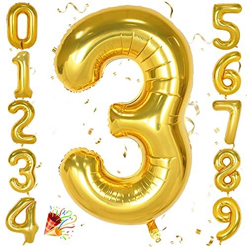Unisun Ballon numéro 40 pouces, ballon feuille Hélium dor 0 1 2 3 4 5 6 7 8 9 Ballons à gros chiffres,ballons dâge, occasions romantiques, mariage, décoration de fournitures danniversaire
