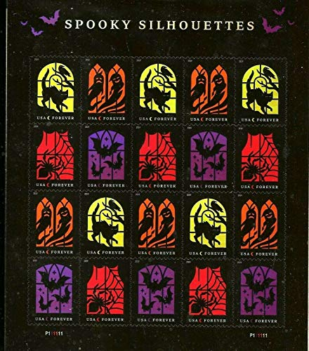 Spooky Silhouettes Halloween US Postage Stamps with Irridescent Effect Pane 20