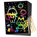 Qxnew Rainbow Scratch Art for Kids: Magic Scratch off Paper Children Art Crafts Set Kit Supplies Toys Black Scratch Sheets Notes Cards for Boys Girls Birthday Party Favors Games Christmas Easter Gifts