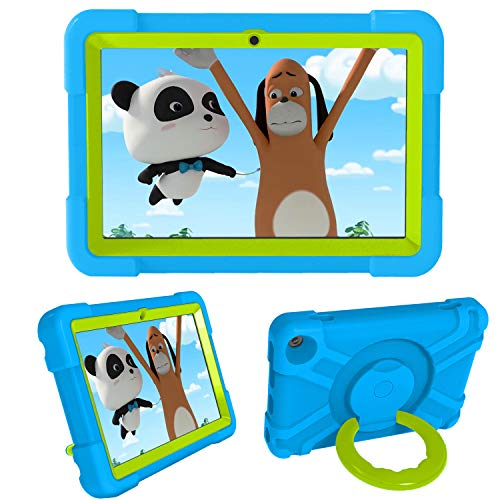 Case for All-New Kindle Fire HD 8 Tablet,Full Body Heavy Duty Shockproof Kids Friendly Silicone Case with Kickstand for Fire HD 8 Plus Tablet (10th Generation, 2020 Release) (Blue&Grass Green)