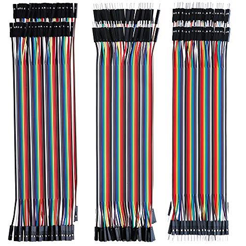 GTIWUNG 240Pcs 3 in 1 Kit Cavetti Jumper Filo Multicolore Wire 24AWG Cavi 80 pezzi da M/F Maschio a Femmina, 80 pezzi da M/M Maschio a Maschio, 80 pezzi da F/F Femmina a Femmina