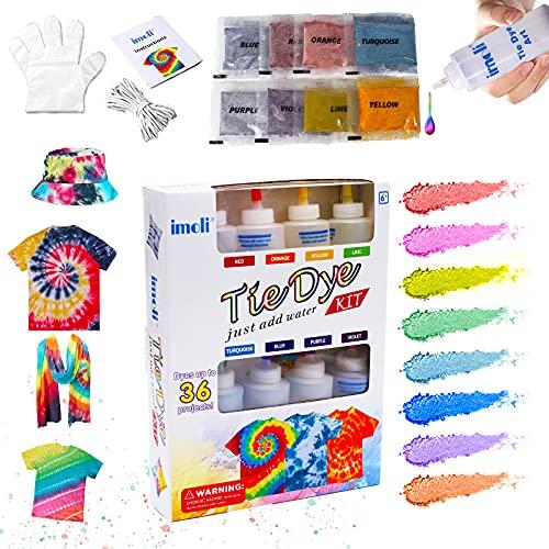 imoli Tie Dye Kit, 8 Batikfarben Set Farben Textilfarben 120ml Batik-Kit Permanente One-Step Tie Dye Art Set für Kinder, Erwachsene, Mode DIY(Enthält 8 Batik Flaschen und 8 Farbstoff Pakete)