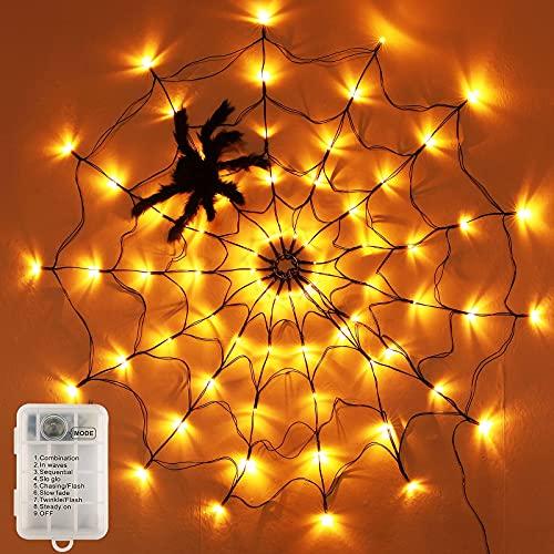 BLOOMWIN Luces de Telaraña para Halloween LED Luces Pilas Impermeable Cadena de Luces 8 modos de iluminación con 1 araña negra Fiesta Decoración de Halloween para Casa Patio Jardín Interior y Exterior