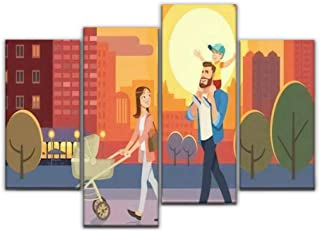 4 Panel Canvas Pictures Family walking with baby car at city sunset Father holding son on his Home Decor Gifts Canvas Wall...