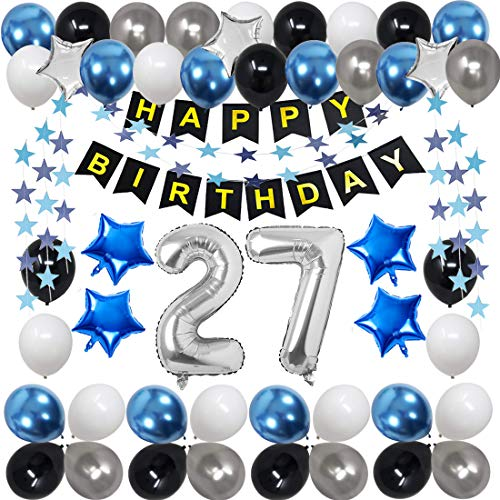 27th Birthday Decorations for Men Women Boy Girl,Blue Black Birthday Party Supplies with 27 Silver Number Balloon Happy Birthday Banner for 27th and 72nd Birthday Party