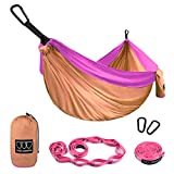 Gold Armour Camping Hammock - Extra Large Double Parachute Hammock (2 Tree Straps 32 Loops, 29 Colors/Patterns) USA Brand Lightweight Nylon Adults Kids, Camping Accessories Gear (Peach and Pink)