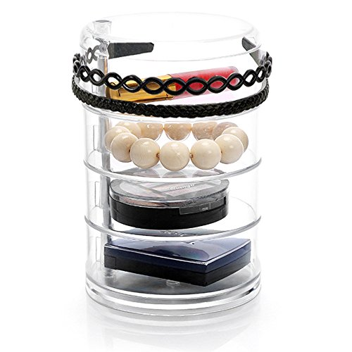 Sooyee Clear Acrylic 4 Tiers 360 Degree Rotation Circular Hair Tie and Headband Holder with Lid, Plastic Jewelry and Makeup Accessories Compartment Organizer,Round Canister