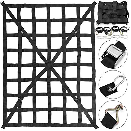 Mophorn 50quot x 66quot Cargo Net with Cam Buckles amp SHooks Cross Strap Truck Bed Cargo Net 42#039 x 55#039 Heavy Duty Cargo Sets for Pickup Capacity 1100LBS for Pickup Trucks