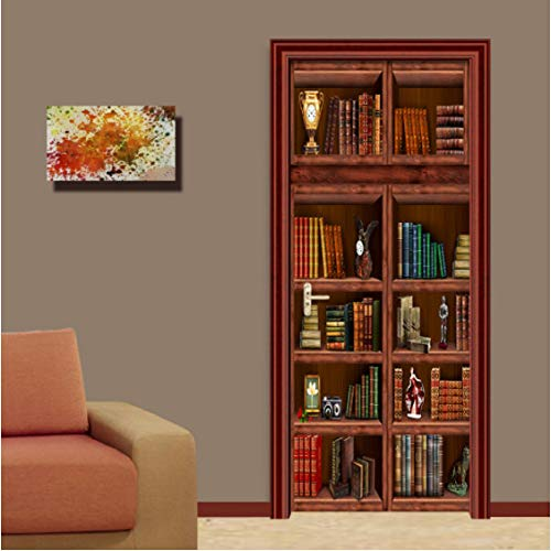 ZPCR PVC Self Adhesive Waterproof Bookshelf Mural Wallpaper 3D Chinese Style Doors Renovation Sticker Living Room Study 3D Door Mural