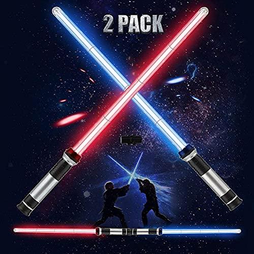 NEWMAN771Her Juguete 2 en 1 con luz LED Doble, 2 en 1 para niños Light Up Sword Life Lightsaber Toy Juguetes de Espada Flexibles para Fiestas de Disfraces de Halloween, Galaxy War Fighters
