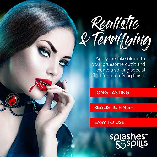 Realistic Fake Blood - Face and Body Paint - 10ml - Pretend Costume and Dress Up Makeup by Splashes & Spills - New & Improved Formula!