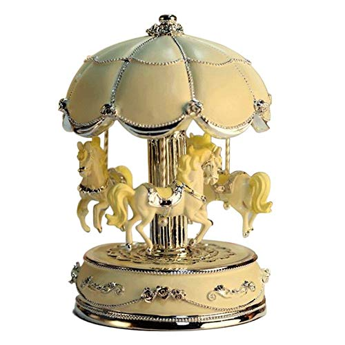 LIWUYOU Luxury Large Size Color Change LED Light Luminous Rotating Carousel Horse Musical Box With Music of Castle in the Sky Color Beige by LIWUYOU