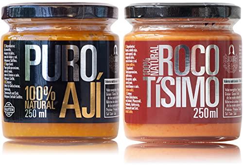 Ají amarillo —peperoncino giallo peruviano— e crema di rocoto   Pacchetto risparmio   Perú Classic   100% naturale   Senza additivi, conservanti e aromi artificiali   Senza glutine   Adatto ai vegani