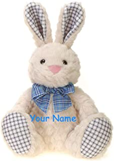 Fiesta Toys Personalized Blue Plaid Sitting Easter Bunny with Colorful Bow for Boys Plush Stuffed Animal Toy with Custom Name