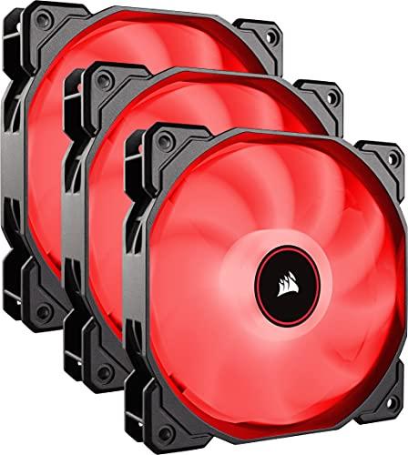 Corsair AF120, Air Series LED - Paquete de 3 ventiladores de refrigeración silencioso de 120 mm, color rojo