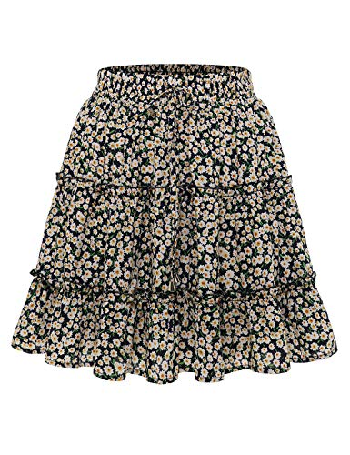 Bbonlinedress Damen Rock Röcke Sommerrock Minirock Kurz Röcke Skirts im Sommer A-Navy Flower L