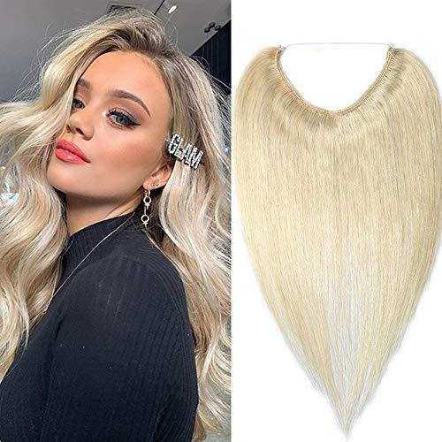 Silk-co Extension A Fil En Cheveux Humain Naturel Invisible Extension Rajout Cheveux Wire In Hair Extension Sans Clips [18 Pouces,#60 Blond Platine]