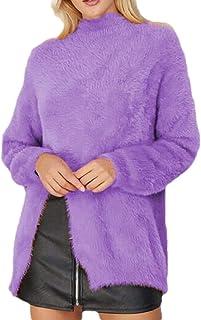 Women's Warm Round Neck Knit Tops Split Fuzzy Fashion Pullover Sweaters