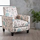 Great Deal Furniture | Dufour | White and Blue Floral Fabric Recliner