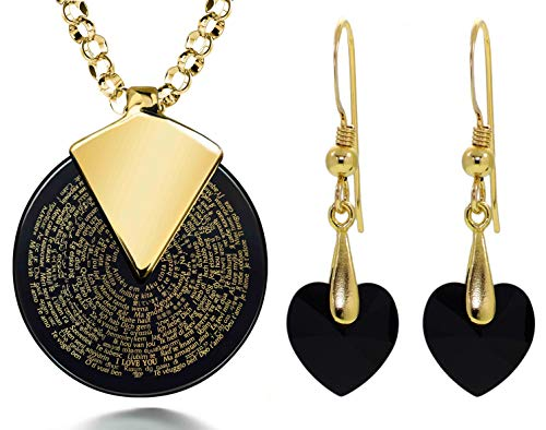 Gold Plated Silver I Love You Necklace 24k Gold Inscribed in 120 Languages on Spinning Round Black Onyx Gemstone Anniversary Pendant Black Crystal Heart Drop Earrings Jewelry Set, 18