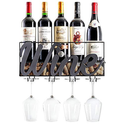 MKZ Products Wall Mounted Wine Rack  Wine Bottle Holder Hanging Stemware Glass Holder  Cork Storage  Storage Rack  Home Kitchen Decor Wine - Black