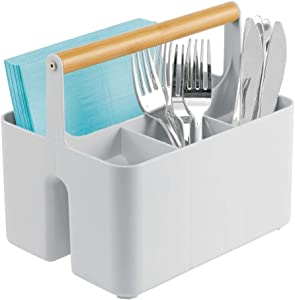 mDesign Plastic Portable Storage Organizer Kitchen Caddy Tote, Divided Bin with Wood Handle for Napkins, Silverware, Forks, Knives, Spoons - Store in Cabinets, Countertops - Gray/Natural