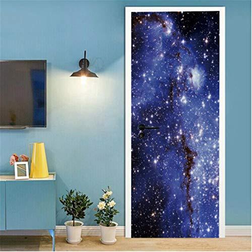 YPXXPY Pegatinas de Puerta para Puertas Interiores 3D Blue Galaxy Pegatinas de Pared Autoadhesivas para decoración del hogar 77 * 200Cm