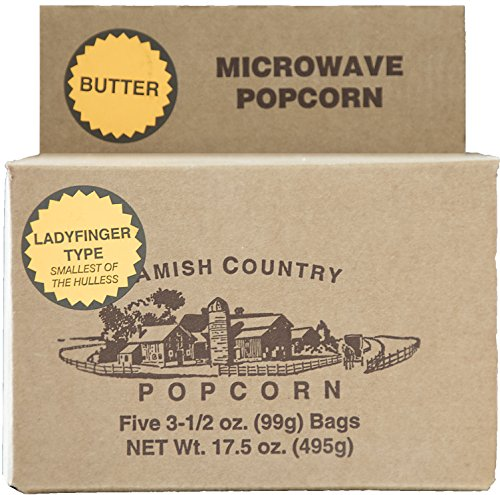 Amish Country Popcorn - Old Fashioned Microwave Popcorn - Gluten Free, and Non GMO with Recipe Guide (Ladyfinger Butter, 5 Bags)