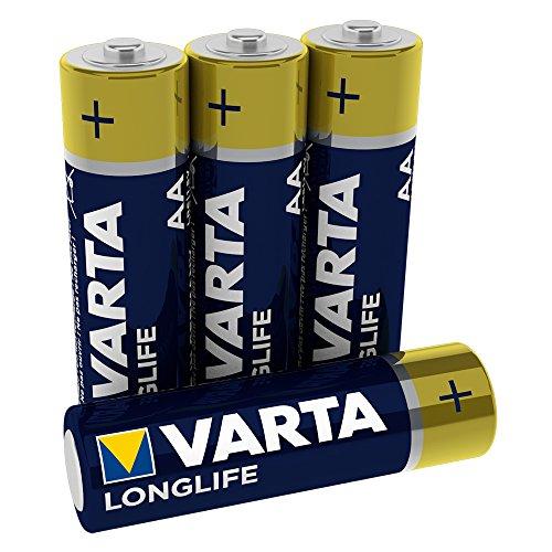 VARTA Longlife AA Mignon LR6 Batterie (4er Pack) Alkaline Batterien – Made in Germany – ideal für Fernbedienung Radio Wecker und Uhr