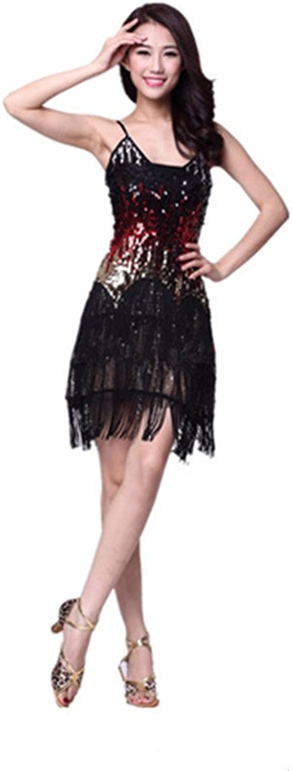 Latin dance costumes Latin dance skirt hanger with color sequin dance dress,Black,free size
