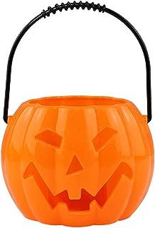 PRETYZOOM PRETYZOOM Halloween Light Up Pumpkin Bucket Halloween Candy Basket Trick or Treat Bucket Halloween Party Supplies (Orange)