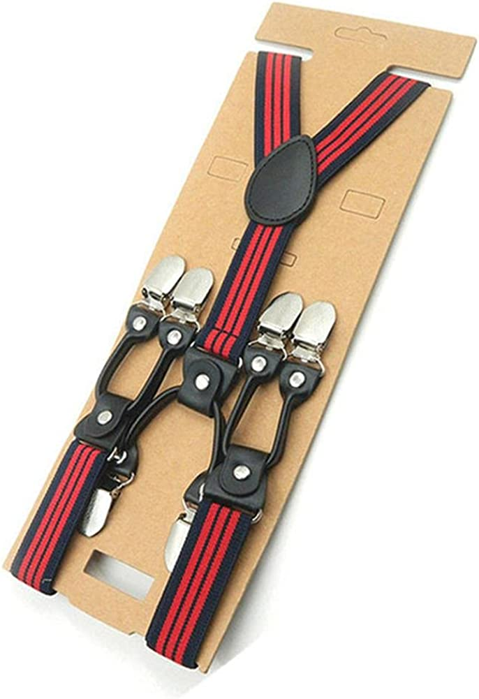 Suspender Men Clips 6 Solid Women Suspenders Y Back Elastic Mens Braces Unisex