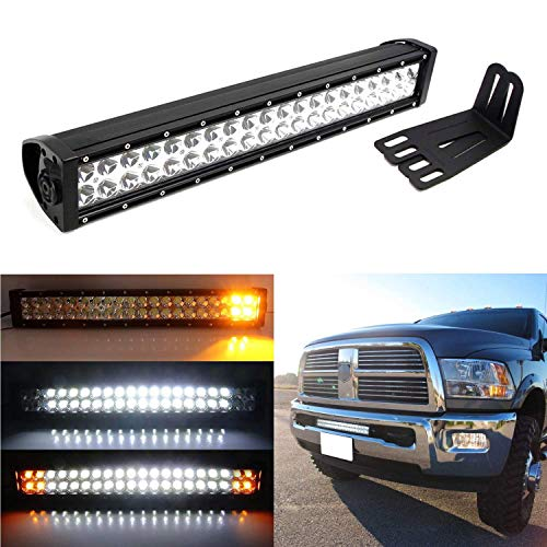 iJDMTOY Lower Bumper 20-Inch 120W LED Light Bar Compatible With 09-18 Dodge RAM 2500 3500, Amber Strobe White Driving LED Lightbar, Lower Bumper Grille Mount Brackets \u0026amp; Dual Switch Wiring Relay
