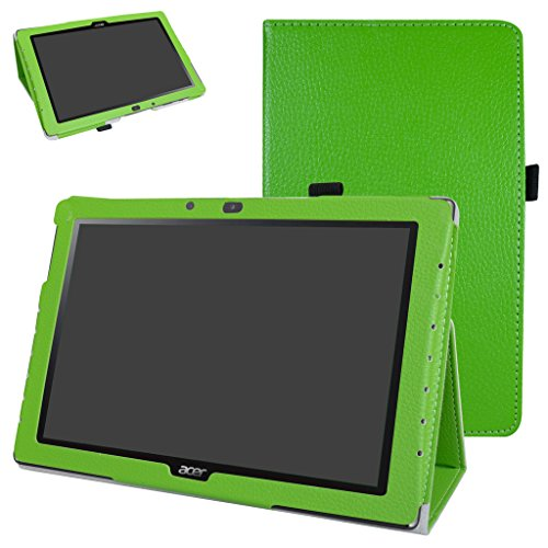 Mama Mouth Acer Iconia One 10 B3-A40 Case, PU Leather Folio 2-folding Stand Cover with Stylus Holder for 10.1' Acer Iconia One 10 B3-A40 Android Tablet PC,Green