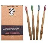 Natural Organic Eco Friendly Bamboo Toothbrush Adult Soft Nylon Bristles, BPA Free, 100% Plastic Free & Biodegradable Handles & Packaging, Responsible Dental Care, 4-Pack
