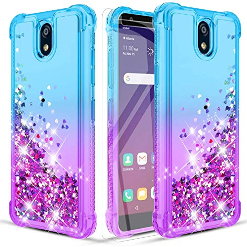 Donse LG K30 2019 Case/LG Escape Plus case/LG Neon Plus/LG Arena 2/LG Journey LTE/LG Tribute Royal Phone Case W/2HD Screen Protector Four-Corner Quicksand Slim Shockproof Protective Clear Teal/Purple