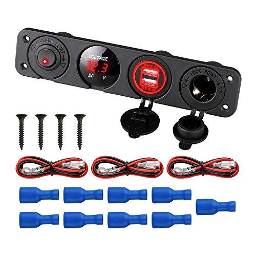 Pestelle Base de Interruptor de Panel de 4 Orificios Cargador de Coche USB Dual VoltíMetro Medidor Interruptor de Enchufe Accesorio de Barco de CamióN de Coche 12-24V