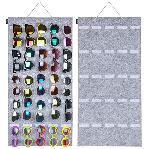 AROUY Sunglasses Organizer Storage, Hanging Wall Pocket Glasses Organizer - 25 Felt Slots Sunglass Organizer Holder Eyeglass Display with Sturdy Rope (Light Gray, Large)