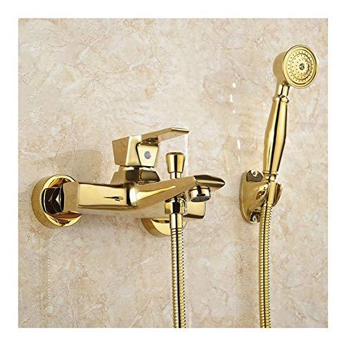 Shower Set Badewannenarmatur mit Handbrause, Wandhalterung Gold Wannenarmatur Einzelgriff Badewanne Armatur für Badewanne