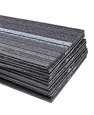 Commercial Strip Carpet Tile 39.37 x 9.84 inch Heavy Duty Washable Carpet Floor Tile Non Slip Thick PVC Backed Carpet Tile for Indoor Home Office Apply - 12 Tiles Per Carton