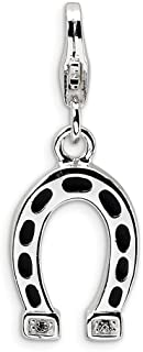 925 Sterling Silver Rh Swarovski Crystals Horseshoe Lobster Clasp Pendant Charm Necklace Good Luck Italian Horn Animal Horse Fine Jewelry Gifts For Women For Her