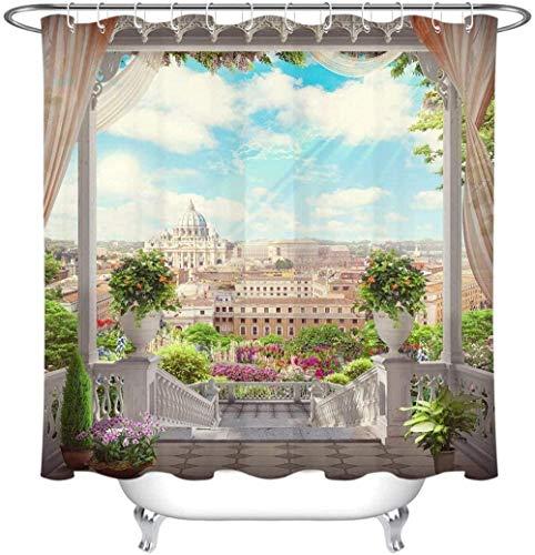 Realistischer europäischer Palast-Balkon-Szene-Duschvorhang Vintage Italienischer Gartenvorhang für Badewanne-Duschkabine Wasserdichter Stoff-Duschvorhang