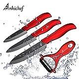 Anhichef Coffret de 4 Couteaux en céramique avec étui de Protection- 5' Couteau Universel 4' Couteau de Fruit 3' Couteau à éplucher avec éplucheur pour légume et Fruit Noir…